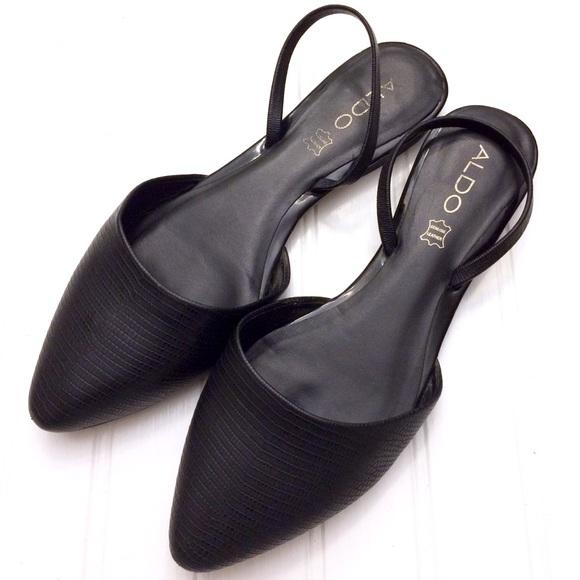 85fb019c0c0c1b Aldo Shoes - Aldo black leather Kyra pointed toe slingback flat